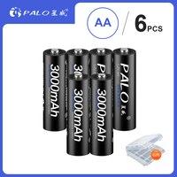 PALO 6 шт. 1,2 в AA Аккумуляторная батарея 3000 мАч AA NiMH 1,2 в Ni-MH 2A предварительно заряженная батарея аккумуляторные батареи для камеры игрушки