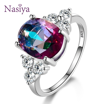 Women's Jewelry 925 Sterling Silver Rings White Pink Light Blue Champagne Zircon Oval Wedding Ring 2