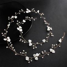 Fashion Western Wedding One Meter Bride Headband For Handmade Floral Pearl Hair Accessories Hairpin Ornaments