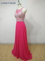 Luxury Crystal Prom Dresses 2017 Long Formal Dress Custom Made Robe De Soiree Rose Red vestido de festa Real Image