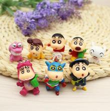 8pcs/lot 3-4cm PVC Crayon Shinchan Figure Toy, Cute Crayon Shin Chan Action Figure Models, Hot Cartoon Anime Brinquedos Kid Toys