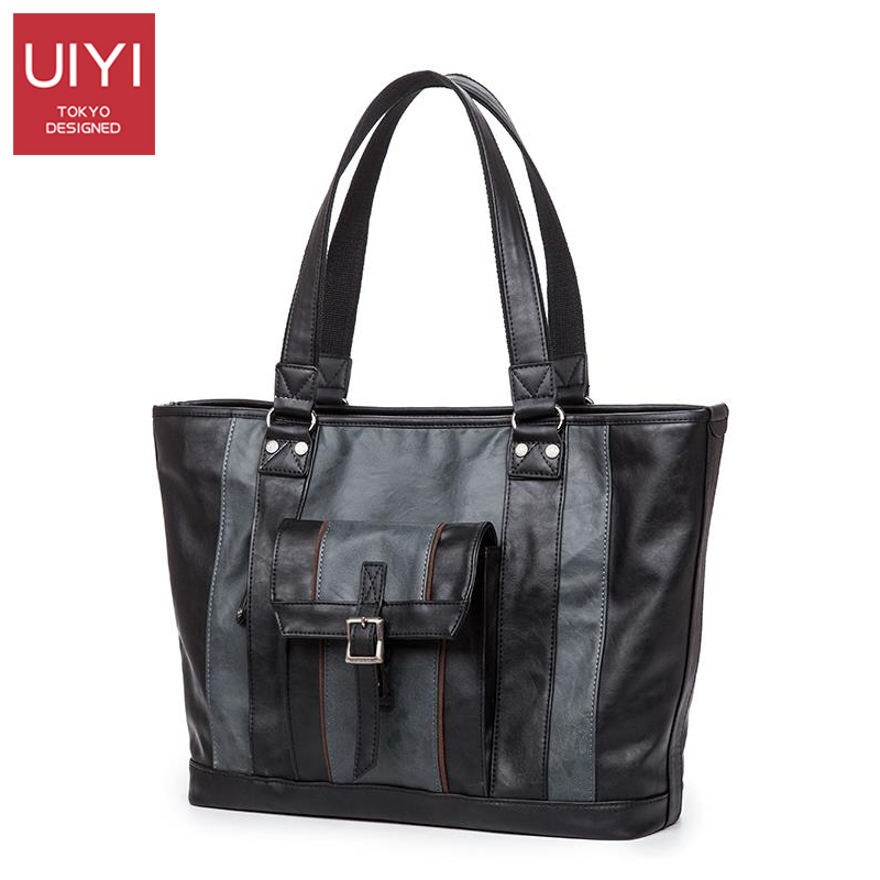 UIYI Blue Gray Mens Handbag Casual Male leather PU Top-Handle Bags No Shoulder Strap for Men Party Hand raised 9.8 in # UYS7027