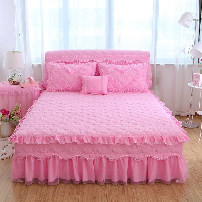 3pcs Princess Lace Pink Beige Purple Bed Skirt Full Queen King Size Bedspread Pillowcase Home