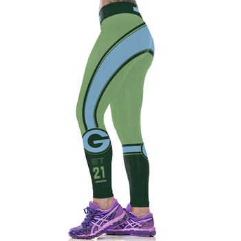 Women Sport Leggings Quick Dry Footballs Running Green Print High Waist Pencil Capris Sexy Hips Trouser Fitness Jogging Jeggings 1