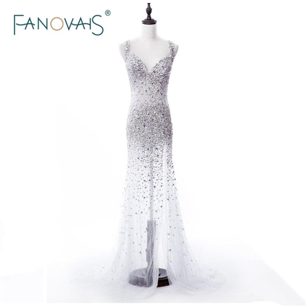 Sexy 2019 robes de célébrité voir à travers sans manches entièrement lourd perles robes de soirée robes de soirée Vestido de Fiesta MGC04