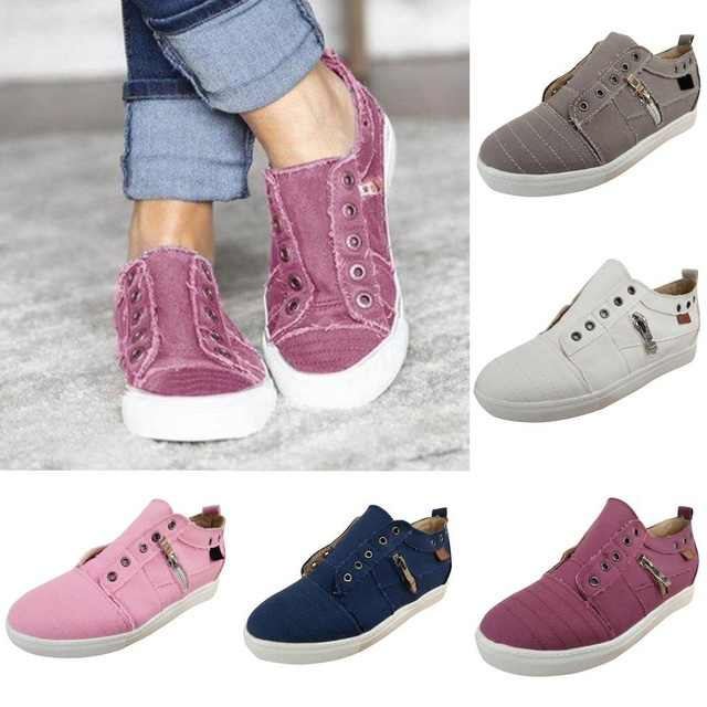 OEAK Vrouwen Schoenen Casual Schoenen Vulcaniseer Schoenen Sneakers Laag uitgesneden Rits Trainers Meisjes Loafer accessional Size