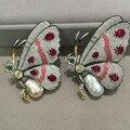 Barroco Naturais de água doce Pérola broche pinos broche borboleta 925 de prata com cubic zircon mulheres jóias