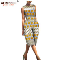 2019 spring african print jumpsuit for women AFRIPRIDE bazin richi sleeveless knee length women casual cotton jumpsuit A1929001