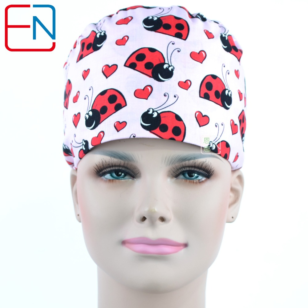 Hennar Printed Scrub Caps Doctor Nurse Women's Surgical Cap Mask With Sweatband Inner Clinic Workwear Medical Scrub Surgical Cap