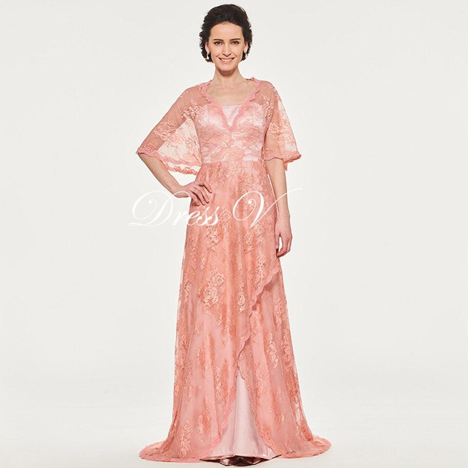 Dressv Rosa Lange Mutter Der Braut Kleid V ausschnitt A Line Halbarm ...