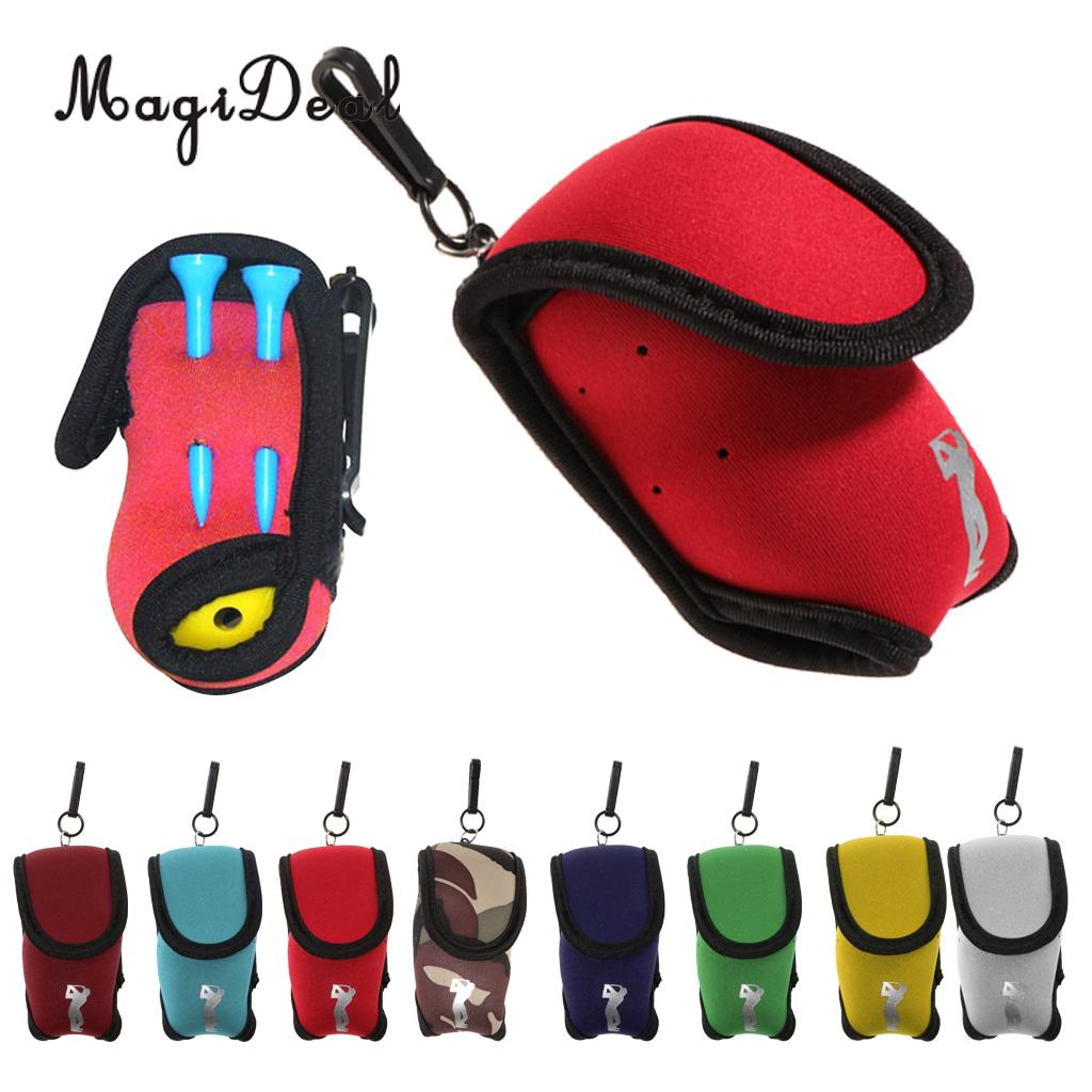 MagiDeal Mini Golf Ball Bag Pocket Cover Organizer Holder Pouch & Belt Clip - Holds 2 Balls & 4 Tees - Compact & Lightweight
