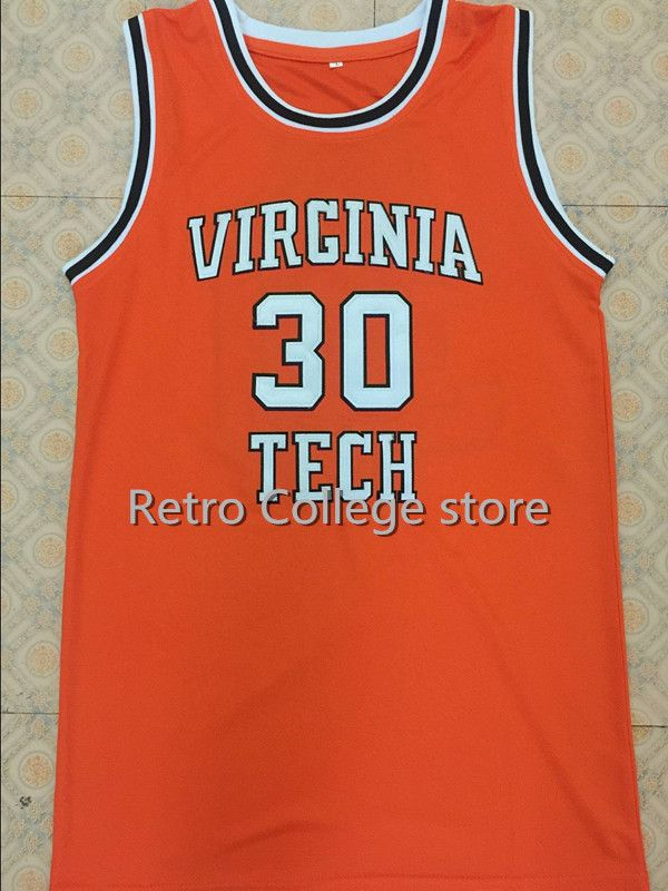 #30 Dell Curry Virginia Tech University Hokies College Basketball Jerseys Orange Throwback Embroidery Custom any Number and name