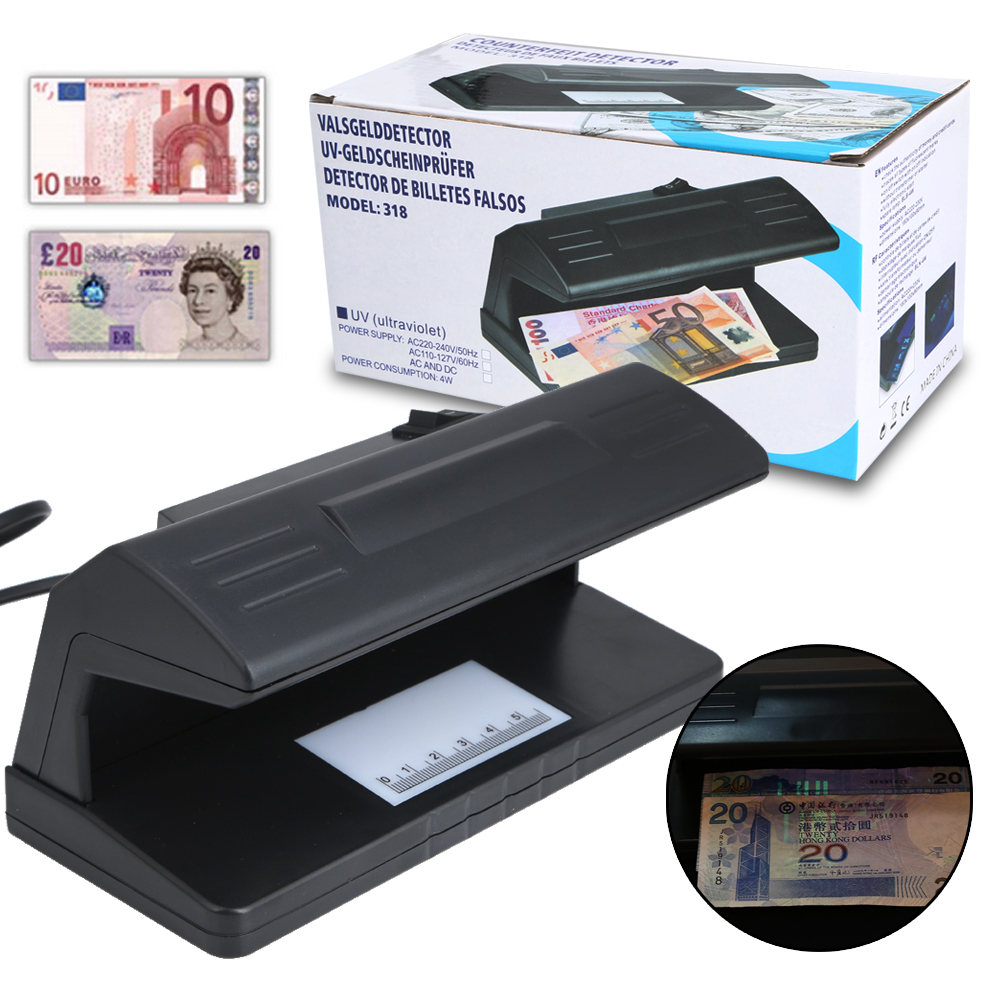 4W Ultraviolet UV Light Counterfeit Bill Detector Handheld Currency Money Detection Tester Machine with Led Blacklight For Bank