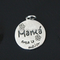 Purity 925 Sterling Silver Pendant Spanish Mama You Are Th Best Message Charms DIY Charms With