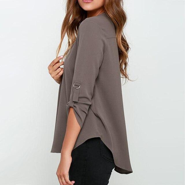Big Yard Tops Women V-neck Chiffon Blouses 3/4 Sleeve Female ShirtS New Fashion Large Size Feminina Camisas Blusas Ladies Tops 1