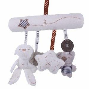 Image 2 - погремушки игрушки для коляски Детская плюшевая погремушка, игрушки на коляску, подвесная кровать, коляска кроватка, Мягкая Милая Музыкальная погремушка с кроликом, развивающие , кровать для новорожденных
