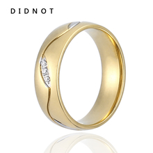 DIDNOT New Arrival Fashion Jewelry Stainless Steel CZ Stone Ring Gold Black Color Wedding Rings For Party Gift Full Size JZ013