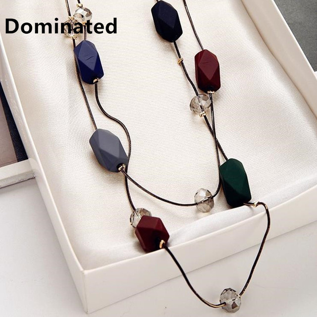 Dominated Women Simple Elegance Necklace Accessories Pendant Long Double Sweater