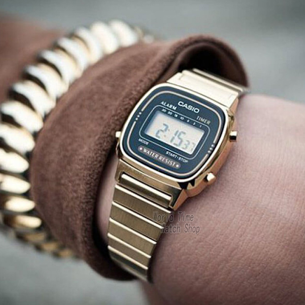 Casio часы золотые женские часы лучший бренд класса люкс водонепроницаемые кварцевые часы женские светодиодные цифровые спортивные женские ... - 5
