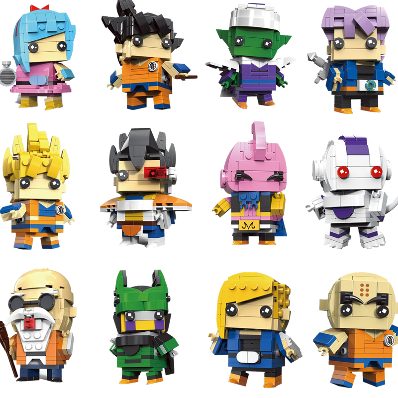 1 Pcs New Cut Doll Saiyan Goku Dragon Ball Z Super Action Figure Toy Dragonball Z Brick Headz Building Blocks Toys For Children new building blocks ninja emmet wyldstyle sheriff gordon zola bad cop robo swat brick toys for children l009 016