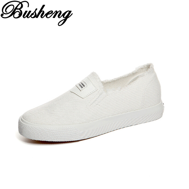 Fashion Canvas Shoes Woman Slip On Flats Shoes Women Casual Shoes Black White Flats Loafers Chaussure Femme Women'S Trainers