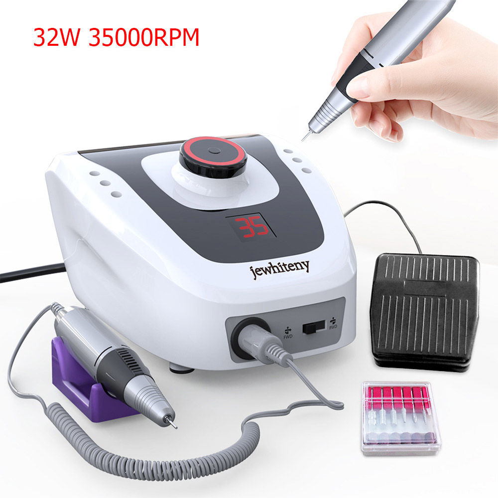 32W 35000RPM Manicure Machine Electric Nail Drill Machine Apparatus for Manicure Pedicure with File Cutter Nail Drill Bits Tool
