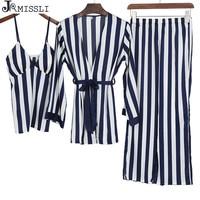 JRMISSLI 3 Pcs Sexy Ice Silk Stripe Woman Pajama Set Long Waist Belt Female Pijama sexy satin pyjamas