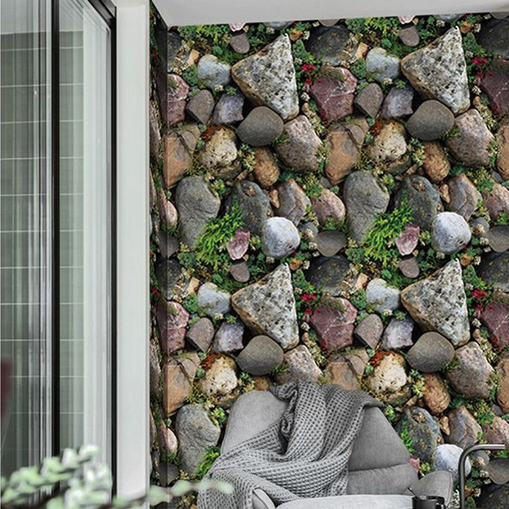 Waterproof Vintage 3D Stone Effect Wallpaper Roll Modern Rustic Realistic Stone Plant Texture Vinyl PVC Wall Paper Home Decor