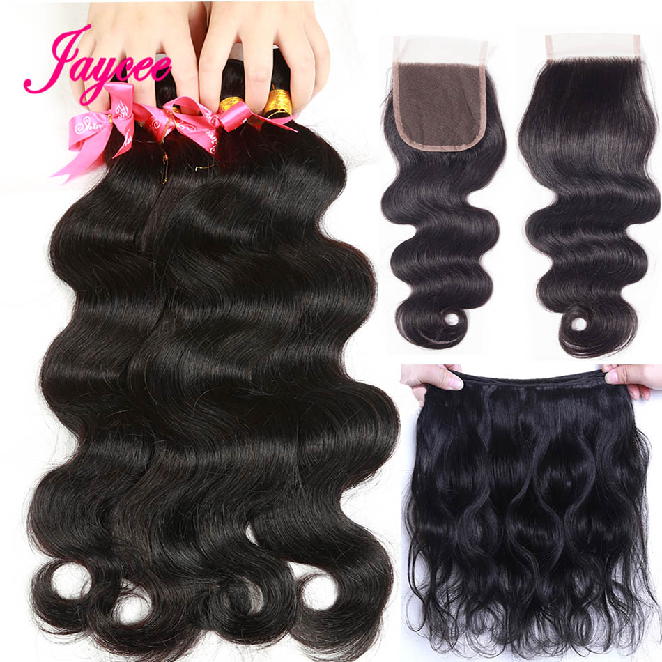 Brazilian Body Wave With Closure 3 Bundles Human Hair Weave With Lace Closure Bleached Knots Non Remy Hair Extension 4 Pcs