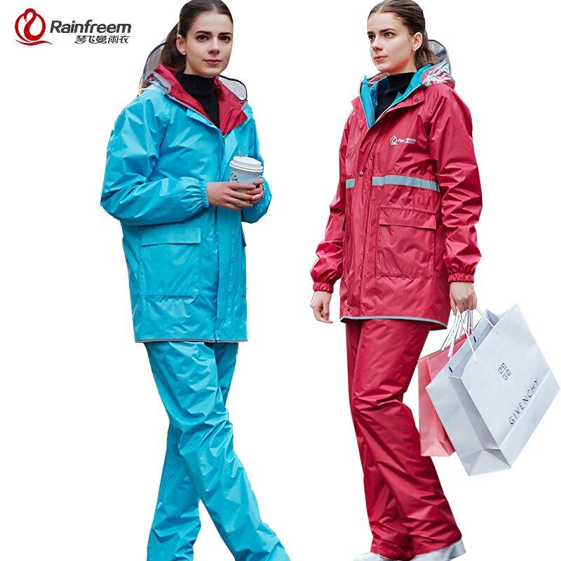 Rainfreem Réversible Imperméable Imperméable Femmes/Hommes Pluie Veste Pantalon Costume Moto Imperméable Imperméable Poncho vêtements de Pluie