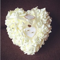 7 Colors European Style Elegant Rose Wedding Favors Heart Shaped Design Ribbon Pearl Gift Ring Box