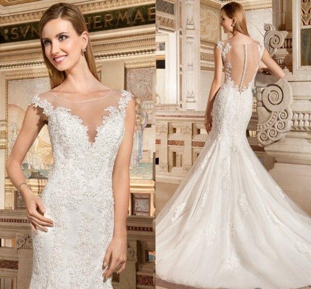 2017 vendiendo bien vestido de novia increíble scoop sirena cofia de