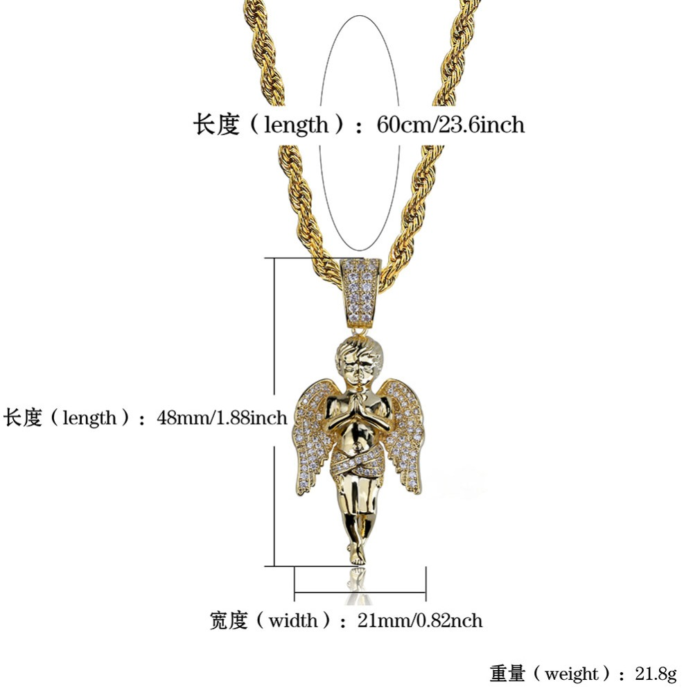 Image 5 - TOPGRILLZ HipHop Men Women Necklace Gold Color Plated Iced Out Micro Pave CZ Stone Angel Pendant Necklaces Love'sblessing Gifts-in Pendant Necklaces from Jewelry & Accessories