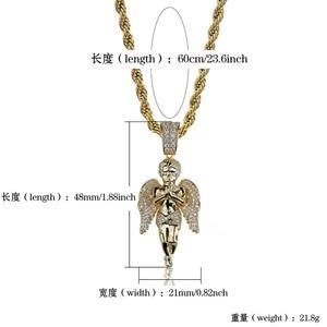 Image 5 - Topgrillz hiphop男性女性ネックレスゴールドカラーメッキアイスマイクロcz石の天使のペンダントネックレスlovesblessingギフト