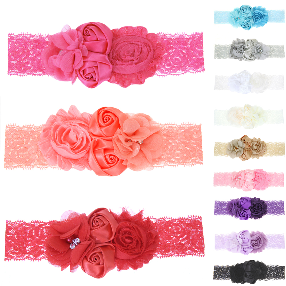 1 Pcs Baby girls Lace Headbands pearl flowers Headband Floral Headwear Hair Band Baby Hair Accessories Girls Christmas Gifts 15pcs lot stretch elastic tutu headbands diy headband hair accessories 1 5 inch crochet headband free shipping 33colors in stock