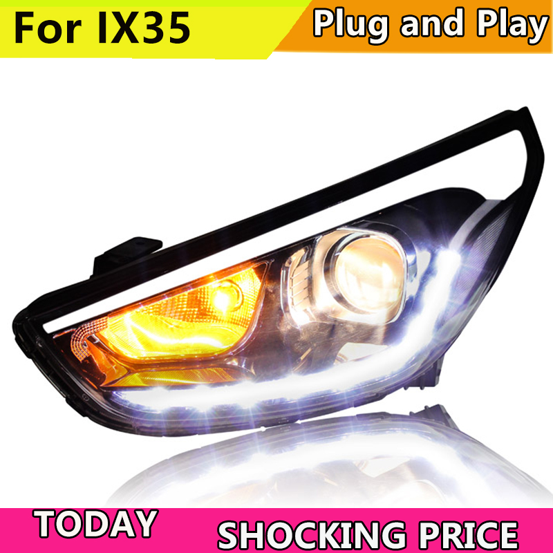 Head Lamp for IX35 Headlights New Tuscon 2011 2015 LED Headlight LED DRL Bi Xenon Lens