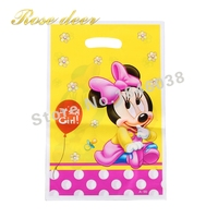 500 sztuk/partia Dziecko Minnie Theme Strona Gift Bag Party Dekoracje Plastikowe Cukierki Torba Loot Bag Dla Kids Festival Party Supplies