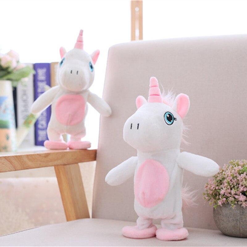 MIAOOWA 1PC 25CM Unicorn Walking&Talking Stuffed Animal Plush Lovely Horse Toy Sound Record Plush Unicorn Birthday Gift for kids