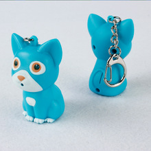Lovely cute cat LED sound light key chain Creative cartoon gift flashlight widgets bag pendant mix order wholesale