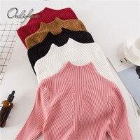 Ordifree Pull Femme Jumper Women Knitted Sweater Knitwear 2017 Autumn Winter Slim Warm Soft Pink Female