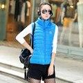 Осень Зима Теплая Жилет Женщин Жилет Карманы Лоскутное Тонкие Пальто Женщин Корейской капюшоном Дикий Жилет Жилет