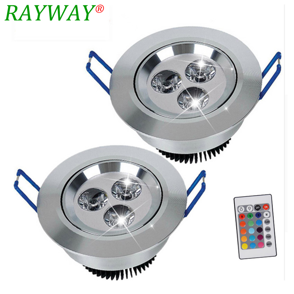 5pcs /lot 3W RGB colorful LED Ceiling Downlight Recessed Cabinet Spot Light Bulb +IR Remote Controller Downlight lighting
