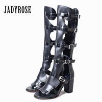 Jady Rose Summer Boots Women Genuine Leather Gladiator Sandals Chunky High Heel Shoes Straps Knee High