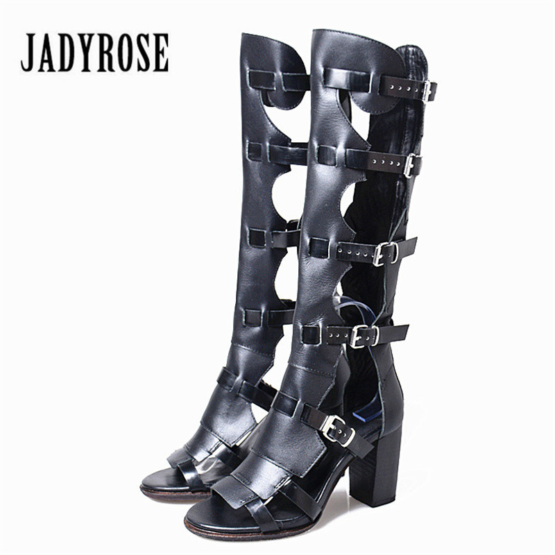 Jady Rose Summer Boots Women Genuine Leather Gladiator Sandals Chunky High Heel Shoes Straps Knee High Boots Sandalias Mujer 2016 new arrival genuine leather shoes women gladiator sandals high heels knee high summer boots prom shoes