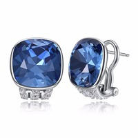 Multicolor Fine Jewelry Made with Square Swarovski Crystal Clip Earrings Real S925 Sterling Silver Clip Earrings for Women Gift