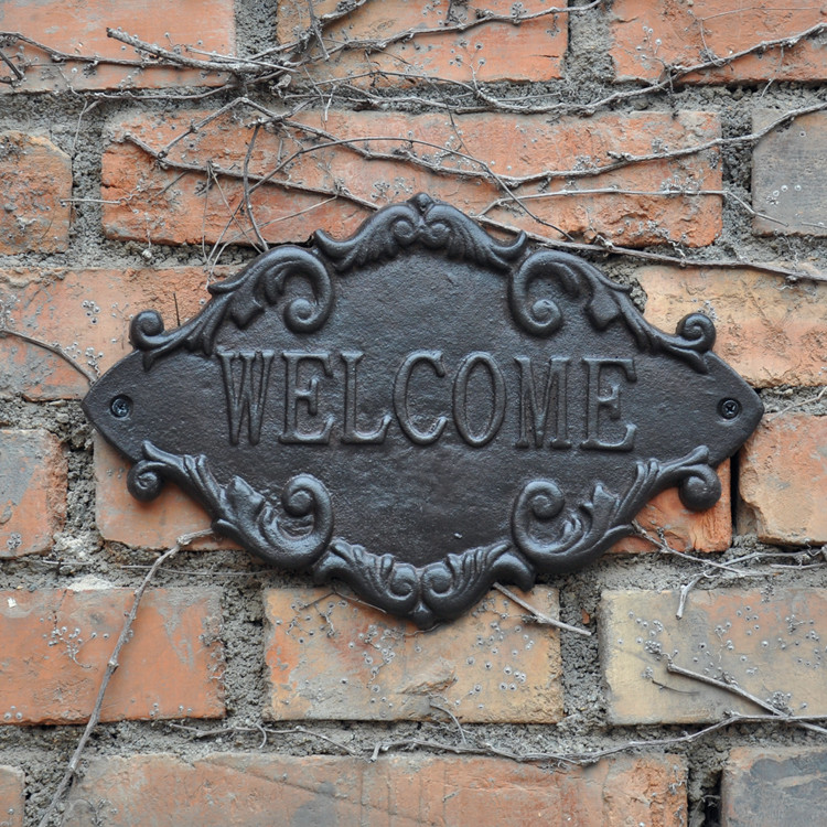US $31 5 10% OFF|2 Country Outdoor Welcome Metal Door Sign Vintage Cast  Iron Welcome Wall Plaque Home Gate Street Apartment Decoration Ornament -in