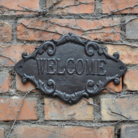 Country Outdoor Welcome Metal Door Sign Vintage Cast Iron Welcome Wall Plaque Home Gate Street Apartment Decoration Ornament