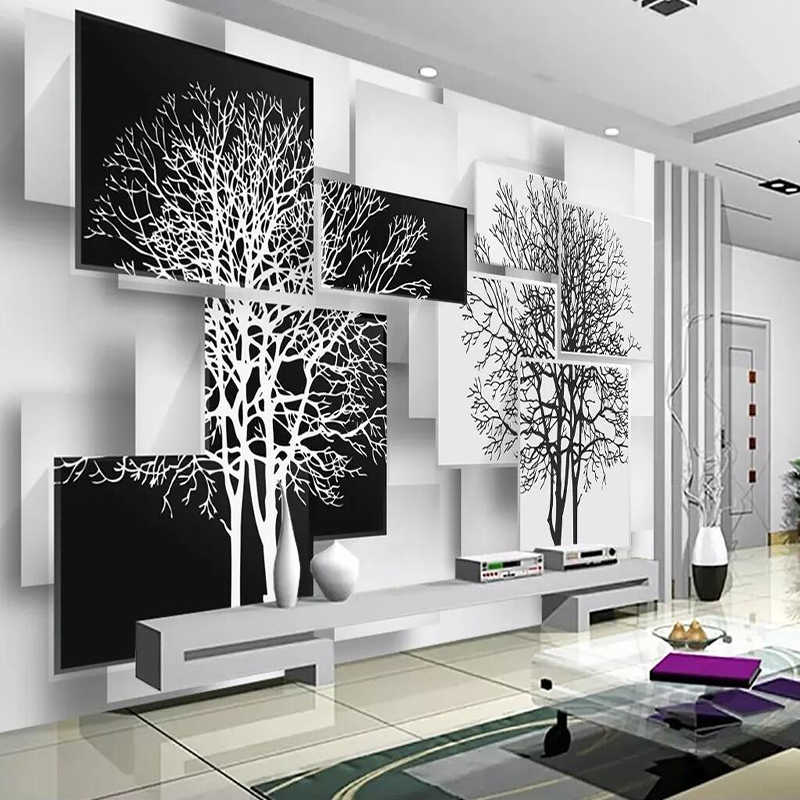Decorative Wallpaper Series Simple Black And White Tree Tv Background Wall