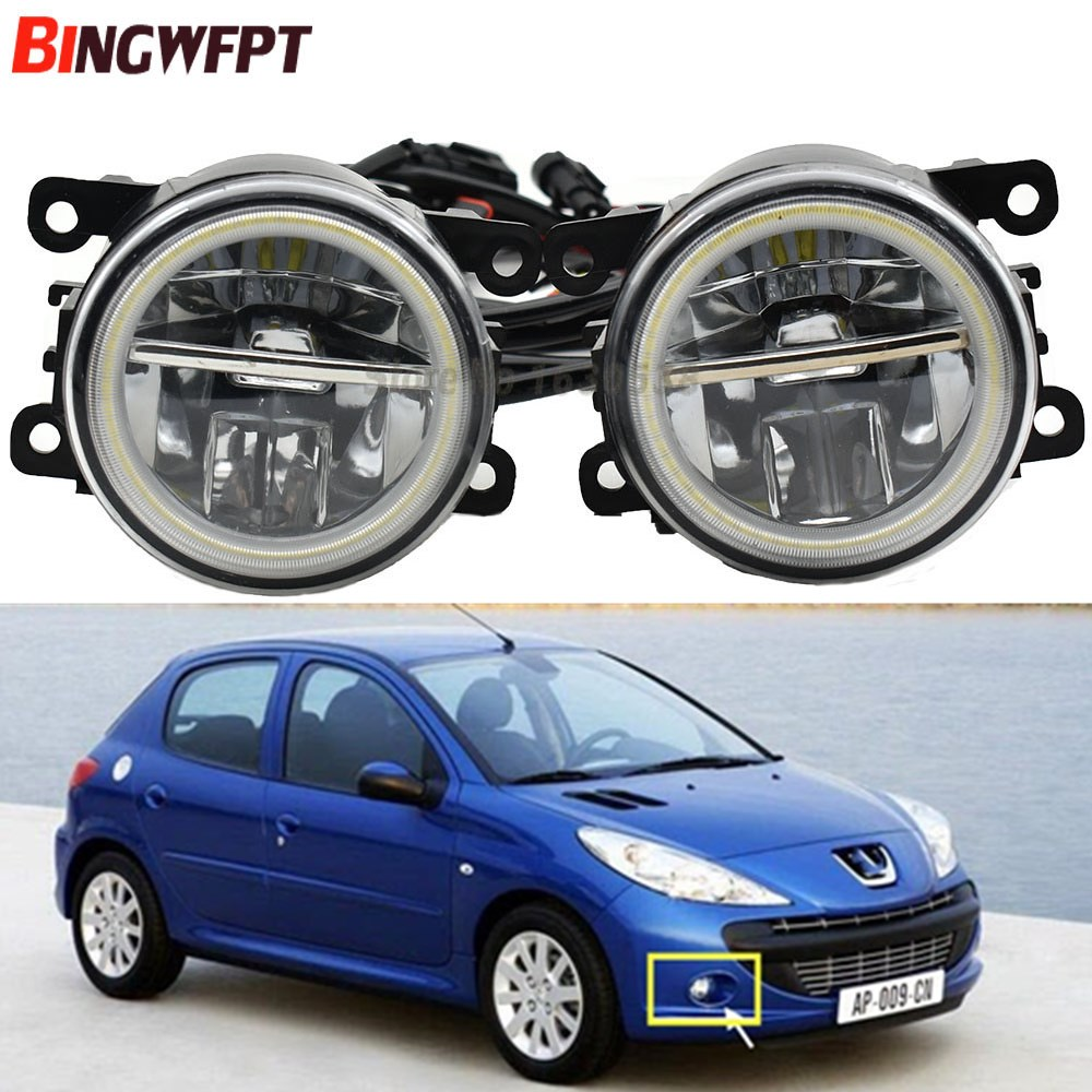 2x Car LED <font><b>Lamp</b></font> <font><b>Fog</b></font> Light with Angel eye For <font><b>Peugeot</b></font> <font><b>206</b></font>+ T3E 2009-2012 Daytime Running <font><b>Lamp</b></font> DRL White image