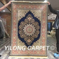 Yilong 4'x6' Persian silk rug blue home decor floral hand knotted silk rug (ZQG050A4x6)